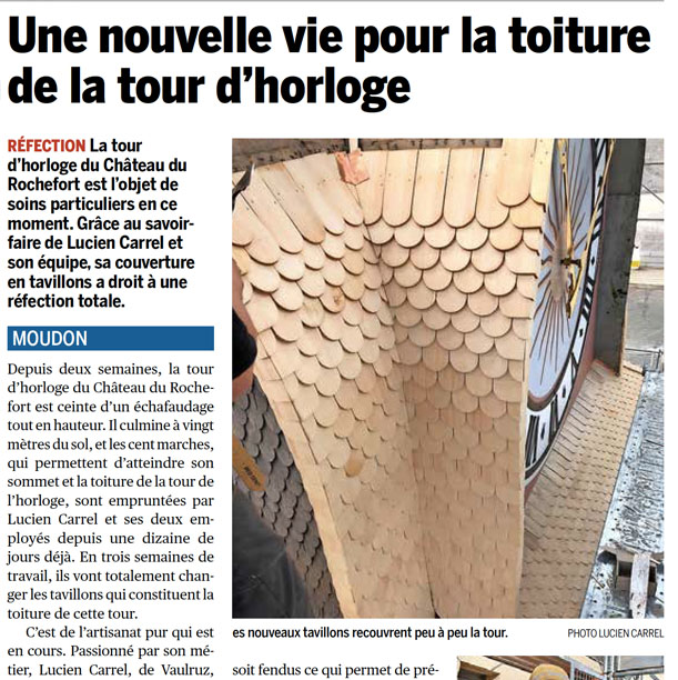 La Broye - Une nouvelle vie pour la toiture de la tour d'horloge